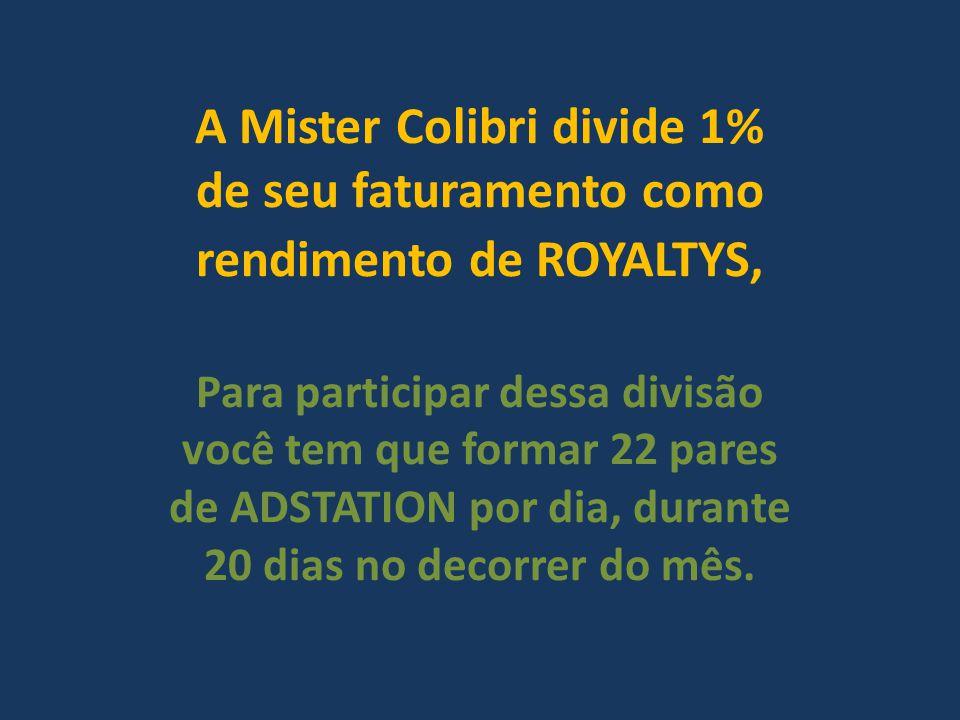 A Mister Colibri divide 1% de seu faturamento como rendimento de ROYALTYS, Para participar dessa divisão você tem que formar 22 pares de ADSTATION por