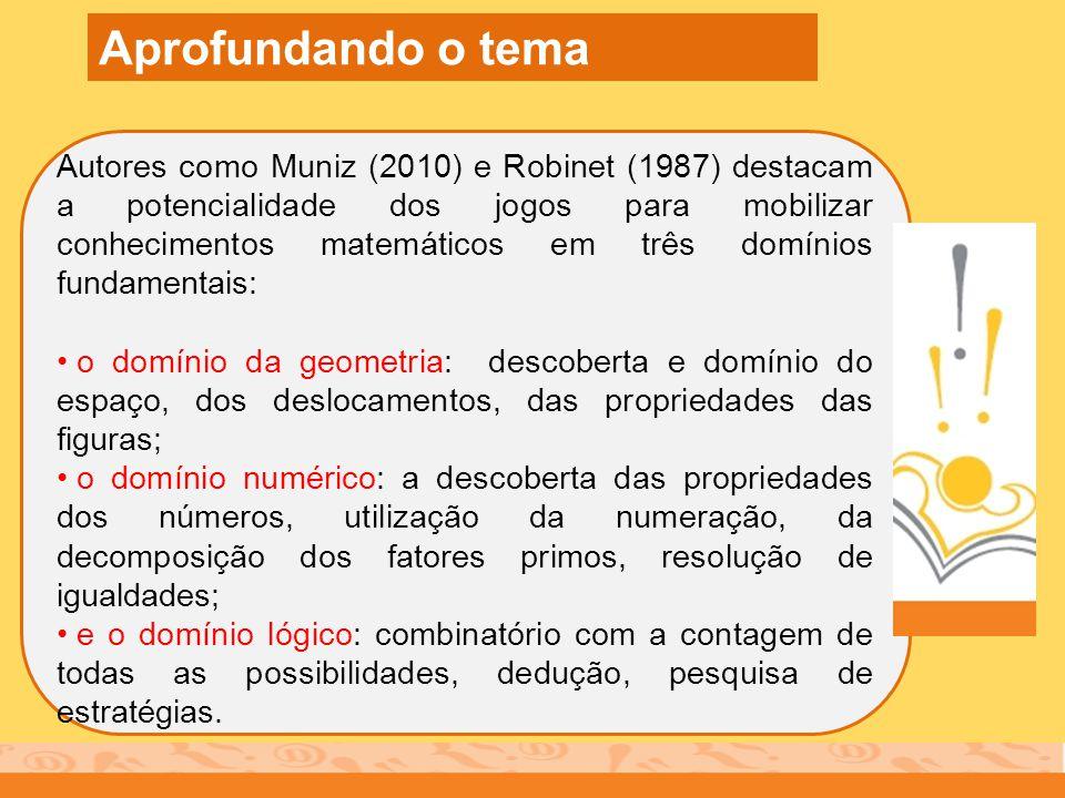 Autores como Muniz (2010) e Robinet (1987) destacam a potencialidade dos jogos para mobilizar conhecimentos matemáticos em três domínios fundamentais: