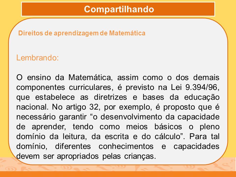 Compartilhando Direitos de aprendizagem de Matemática Lembrando: O ensino da Matemática, assim como o dos demais componentes curriculares, é previsto