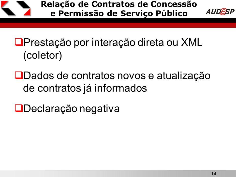 14 Relação de Contratos de Concessão e Permissão de Serviço Público  Prestação por interação direta ou XML (coletor)  Dados de contratos novos e atu