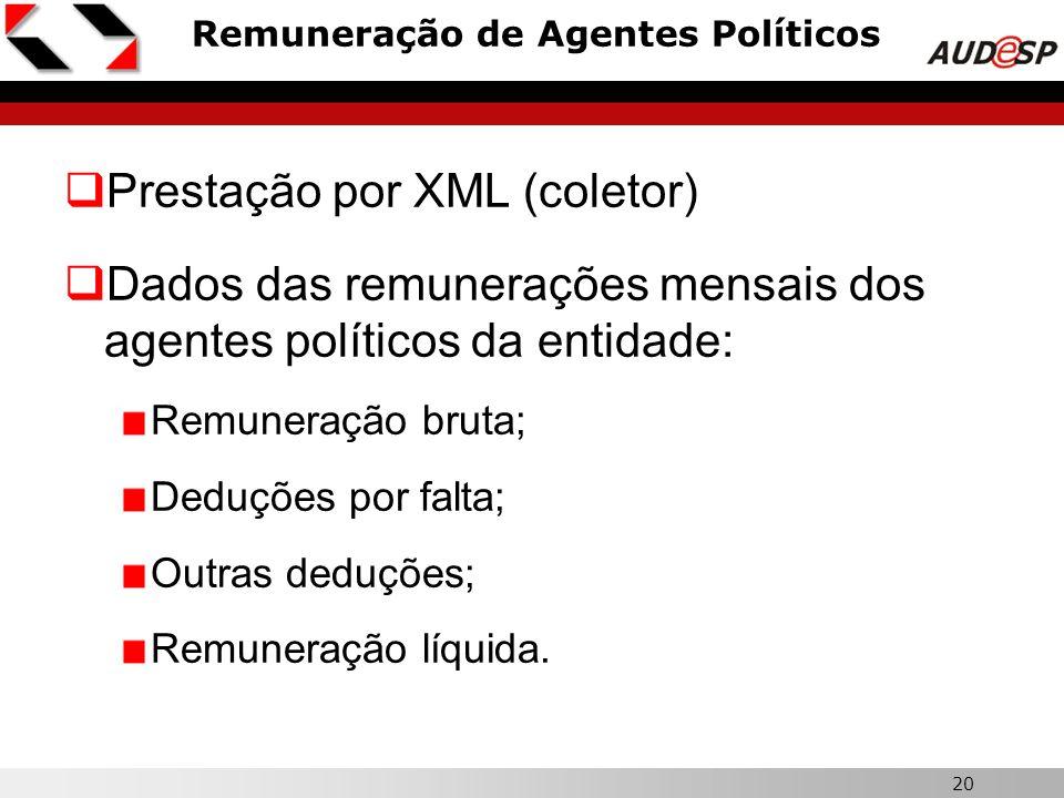 20 Remuneração de Agentes Políticos  Prestação por XML (coletor)  Dados das remunerações mensais dos agentes políticos da entidade: Remuneração brut