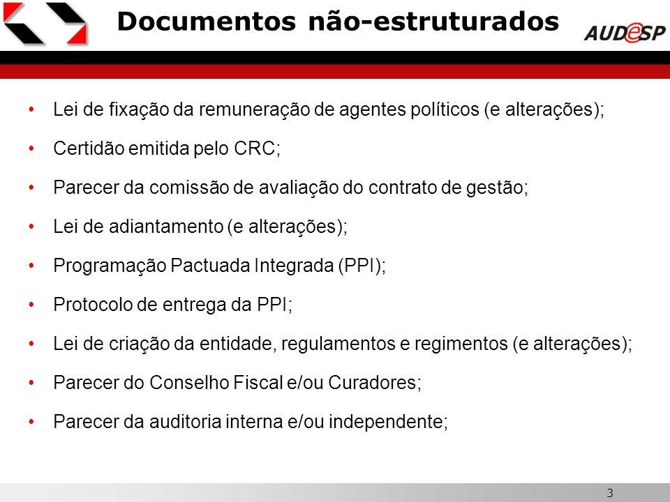 3 Documentos não-estruturados Lei de fixação da remuneração de agentes políticos (e alterações); Certidão emitida pelo CRC; Parecer da comissão de ava