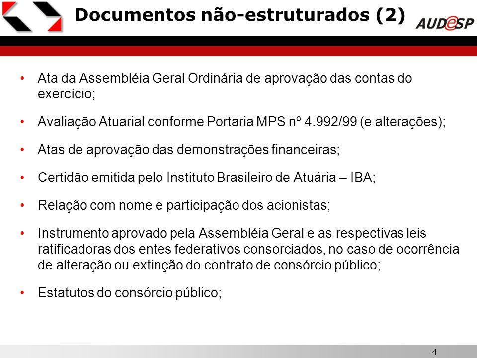 4 Documentos não-estruturados (2) Ata da Assembléia Geral Ordinária de aprovação das contas do exercício; Avaliação Atuarial conforme Portaria MPS nº
