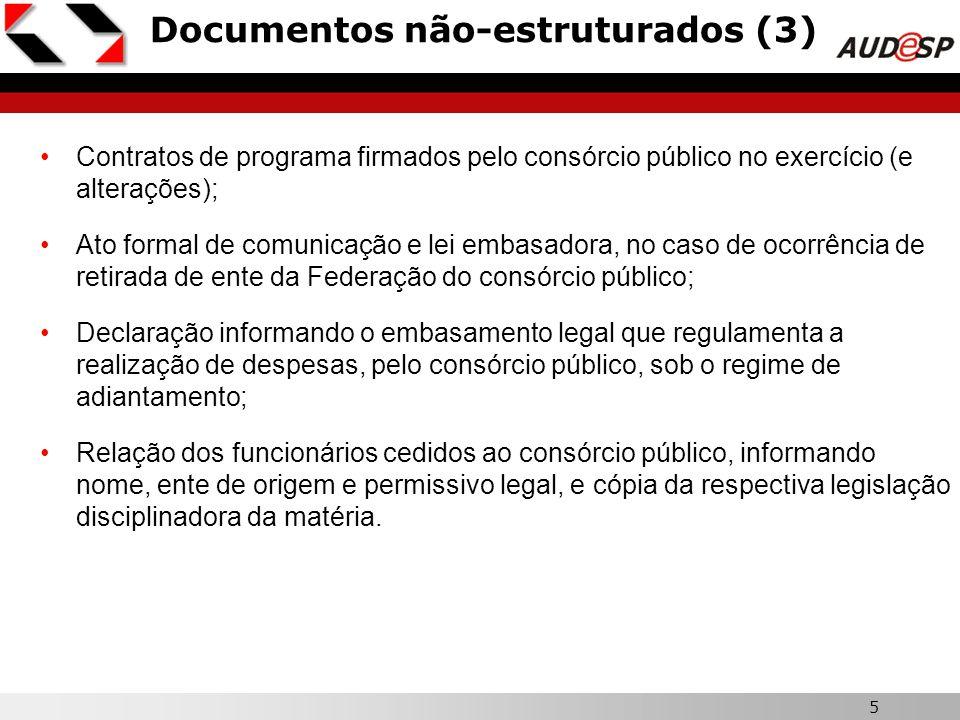 5 Documentos não-estruturados (3) Contratos de programa firmados pelo consórcio público no exercício (e alterações); Ato formal de comunicação e lei e
