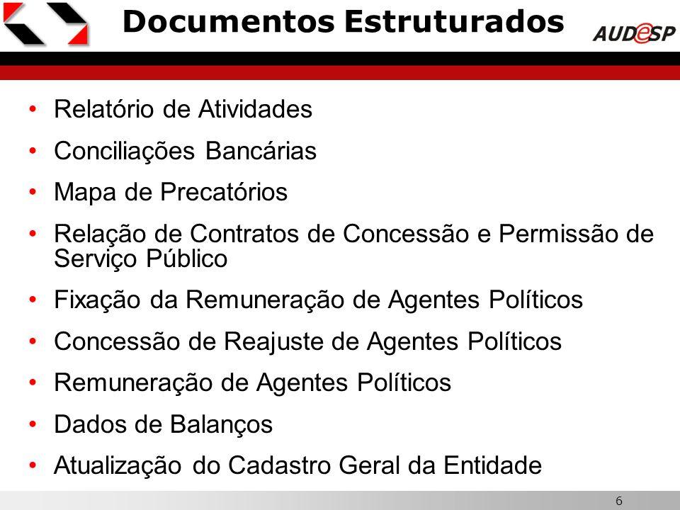6 Documentos Estruturados Relatório de Atividades Conciliações Bancárias Mapa de Precatórios Relação de Contratos de Concessão e Permissão de Serviço
