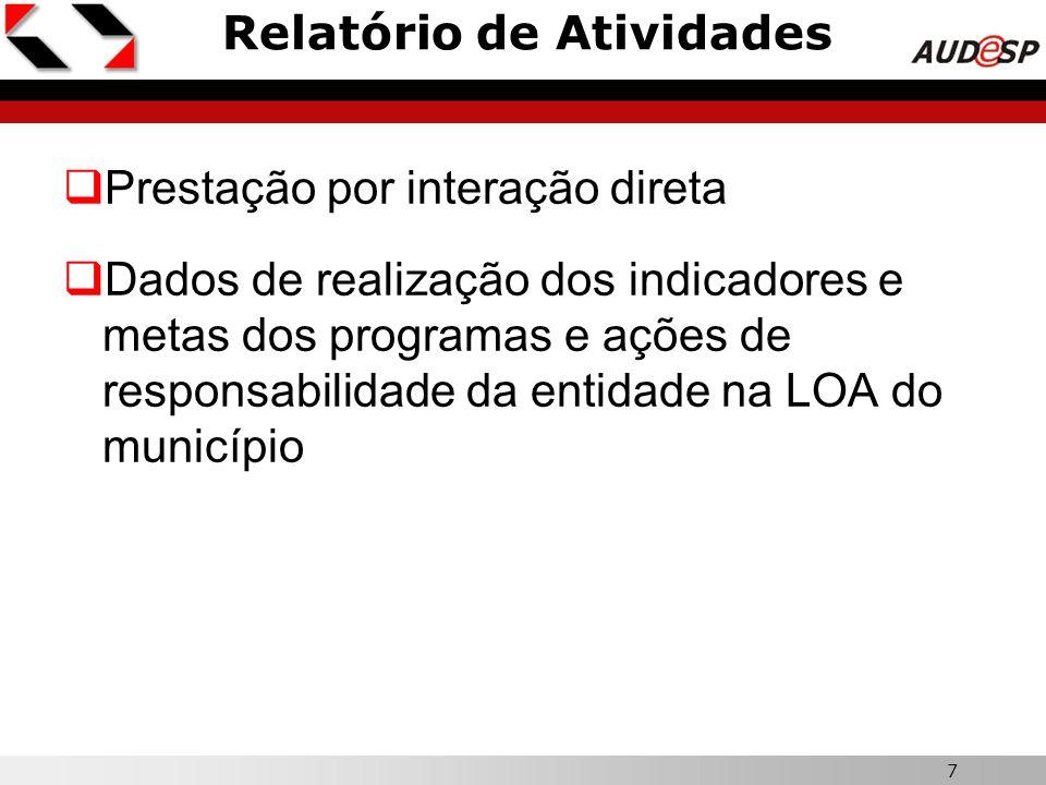 7 Relatório de Atividades  Prestação por interação direta  Dados de realização dos indicadores e metas dos programas e ações de responsabilidade da