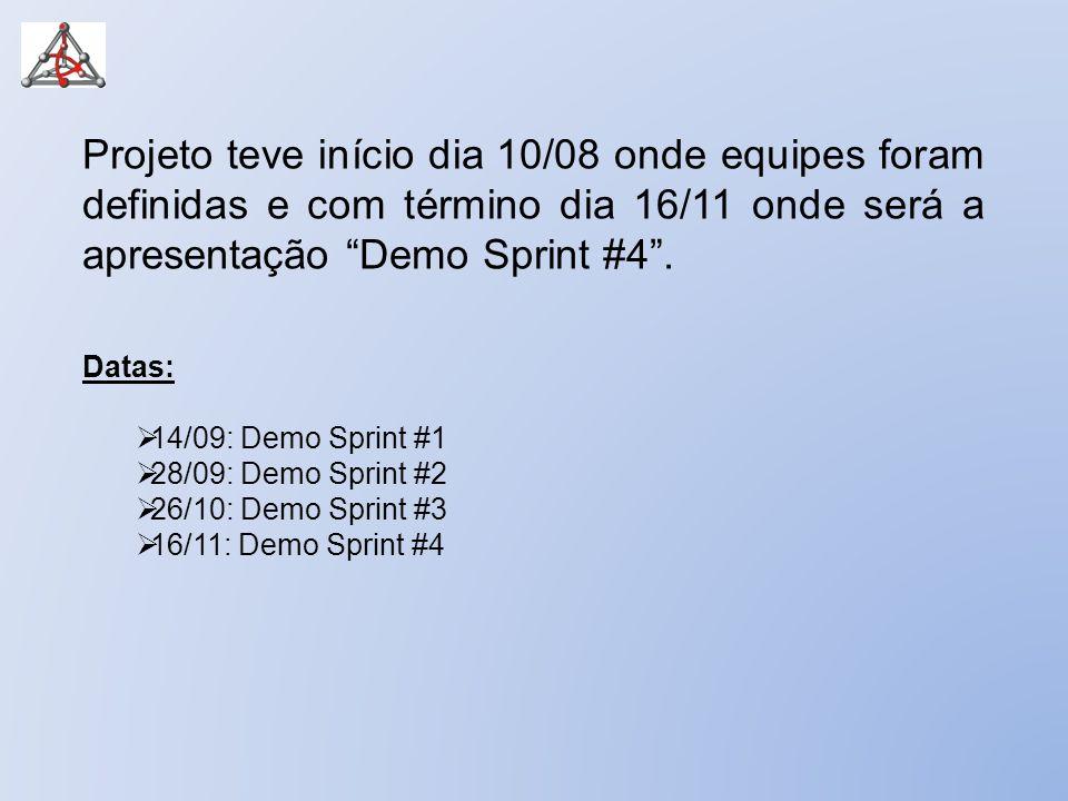 """Projeto teve início dia 10/08 onde equipes foram definidas e com término dia 16/11 onde será a apresentação """"Demo Sprint #4"""". Datas:  14/09: Demo Spr"""