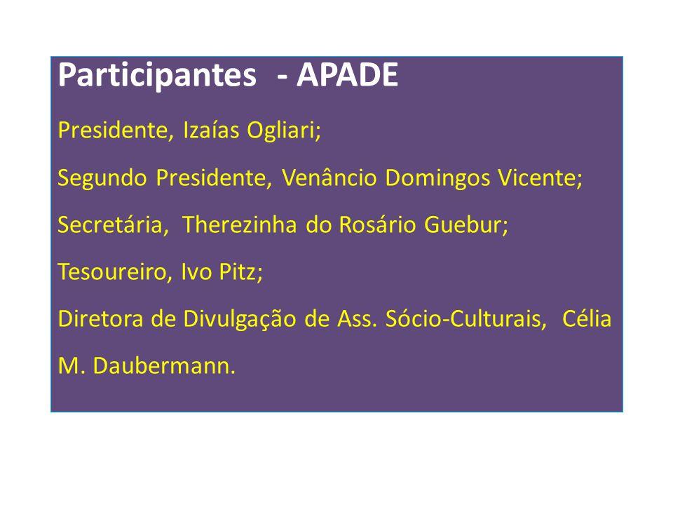 Participantes - APADE Presidente, Izaías Ogliari; Segundo Presidente, Venâncio Domingos Vicente; Secretária, Therezinha do Rosário Guebur; Tesoureiro,