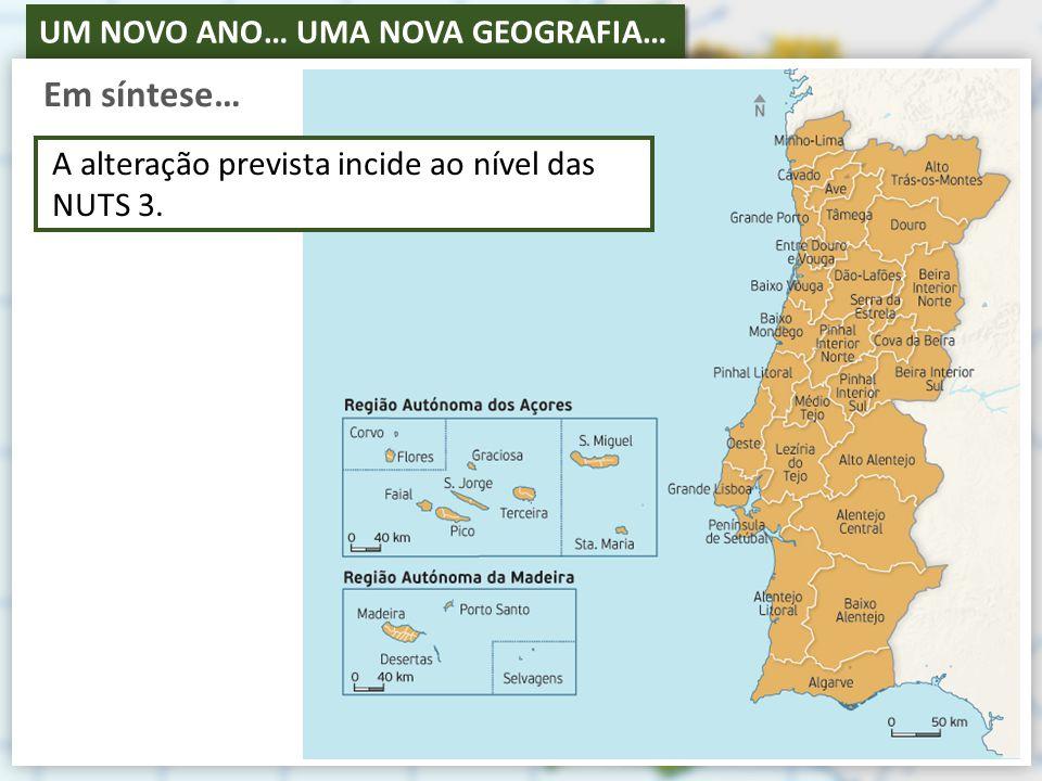 UM NOVO ANO… UMA NOVA GEOGRAFIA… Em síntese… A alteração prevista incide ao nível das NUTS 3.
