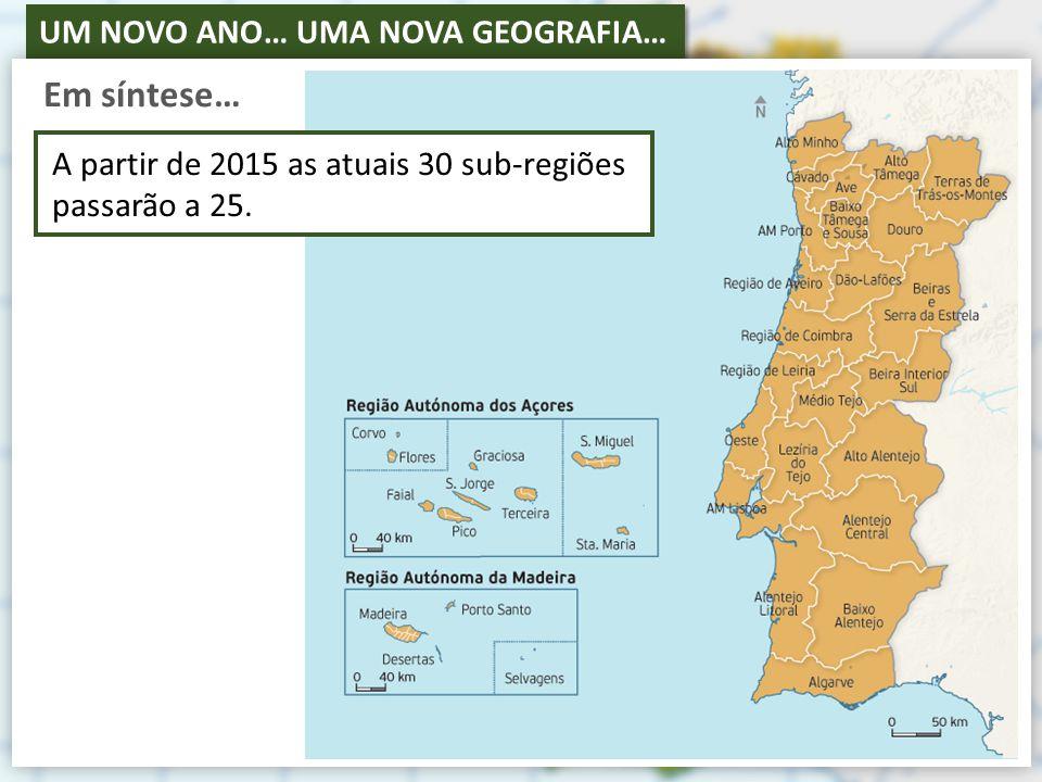 UM NOVO ANO… UMA NOVA GEOGRAFIA… Em síntese… A partir de 2015 as atuais 30 sub-regiões passarão a 25.