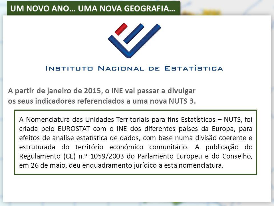 UM NOVO ANO… UMA NOVA GEOGRAFIA… A partir de janeiro de 2015, o INE vai passar a divulgar os seus indicadores referenciados a uma nova NUTS 3.