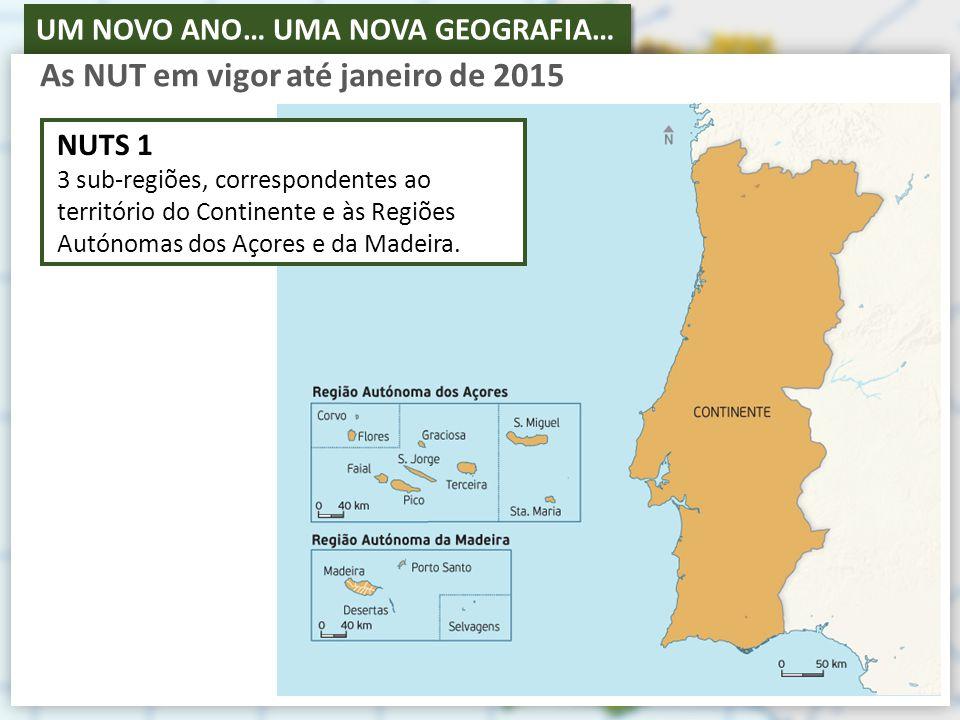 UM NOVO ANO… UMA NOVA GEOGRAFIA… As NUT em vigor até janeiro de 2015 NUTS 1 3 sub-regiões, correspondentes ao território do Continente e às Regiões Autónomas dos Açores e da Madeira.