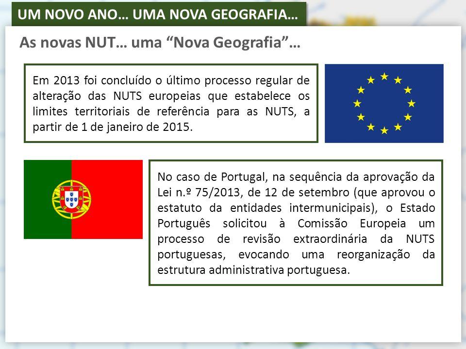 UM NOVO ANO… UMA NOVA GEOGRAFIA… As novas NUT… uma Nova Geografia … Em 2013 foi concluído o último processo regular de alteração das NUTS europeias que estabelece os limites territoriais de referência para as NUTS, a partir de 1 de janeiro de 2015.