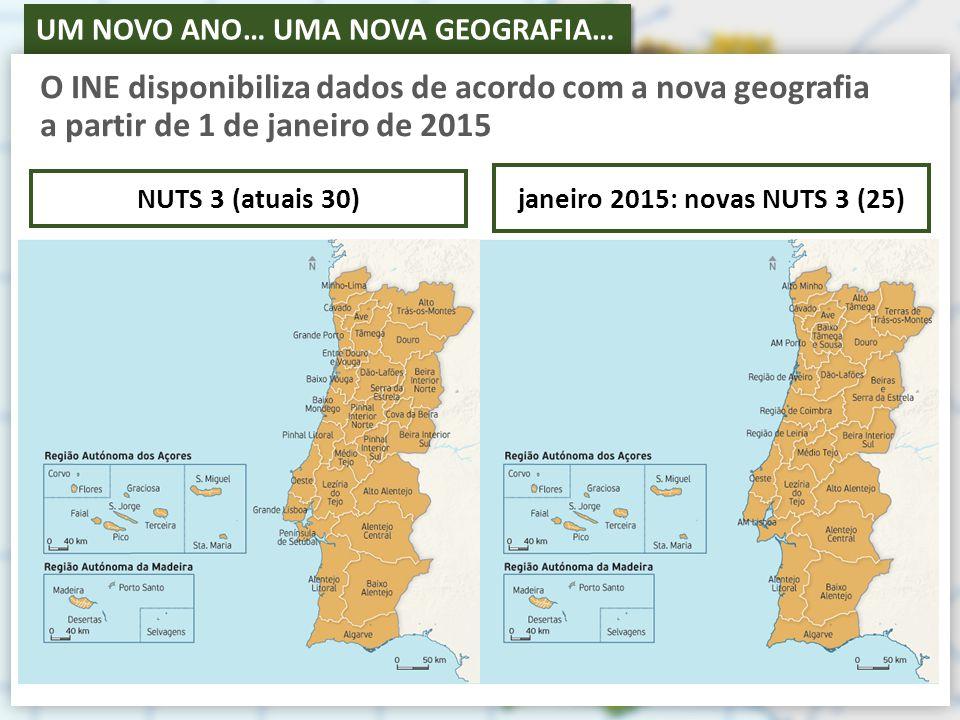 UM NOVO ANO… UMA NOVA GEOGRAFIA… NUTS 1NUTS 2Nova Designação das NUTS 3População (Censos 2011)N.º de Municípios Continente Norte Alto Minho244 83610 Cávado410 1696 Ave425 4118 Área Metropolitana do Porto1 759 52417 Alto Tâmega94 1436 Tâmega e Sousa432 91511 Douro205 15719 Terras de Trás-os-Montes117 5279 Centro Região de Aveiro370 39411 Região de Coimbra460 13919 Região de Leiria294 63210 Viseu Dão Lafões267 63314 Beiras e Serra da Estrela236 02315 Beira Baixa89 0636 Oeste362 54012 Médio Tejo247 33113 Área Metropolitana de Lisboa Alentejo Área Metropolitana de Lisboa2 821 87618 Alentejo Litoral97 9255 Alto Alentejo118 50615 Alentejo Central166 72614 Baixo Alentejo126 69213 Lezíria do Tejo247 45311 Algarve 451 00616 Região Autónoma dos Açores 246 77219 Região Autónoma da Madeira 267 78511