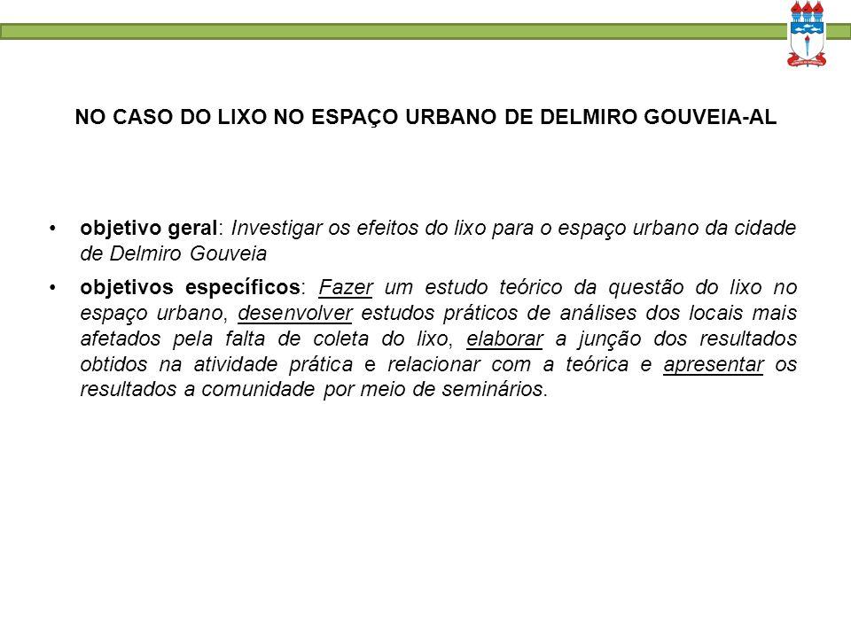 NO CASO DO LIXO NO ESPAÇO URBANO DE DELMIRO GOUVEIA-AL objetivo geral: Investigar os efeitos do lixo para o espaço urbano da cidade de Delmiro Gouveia
