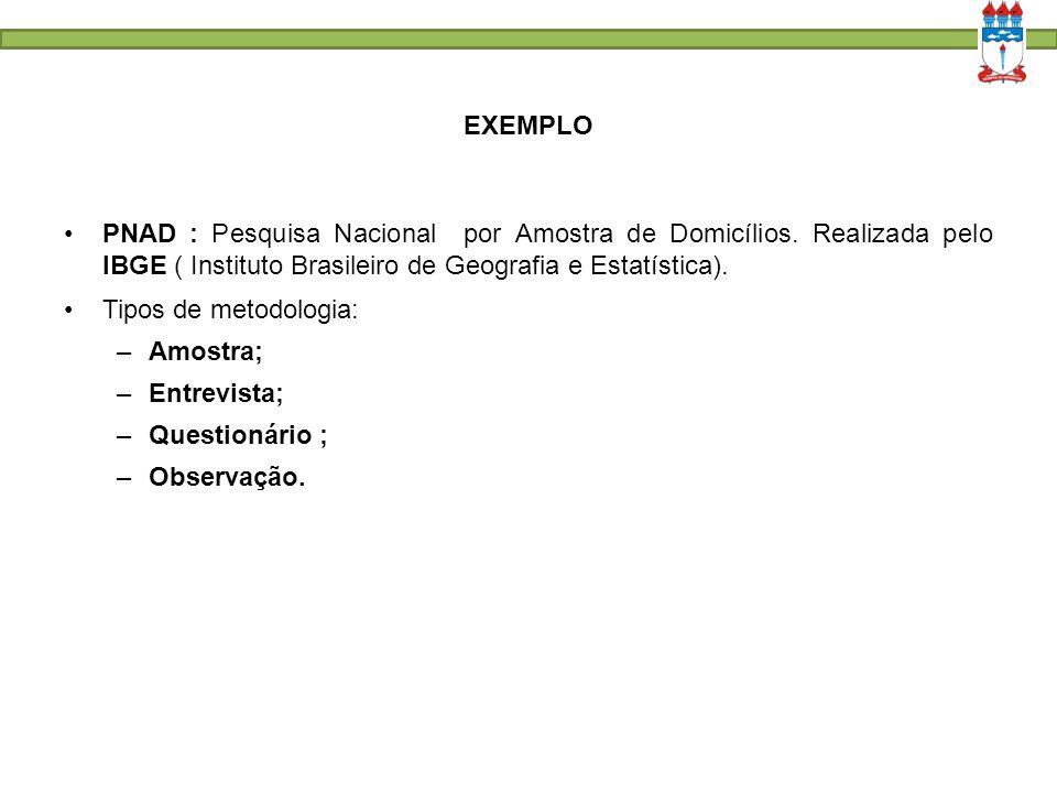 EXEMPLO PNAD : Pesquisa Nacional por Amostra de Domicílios. Realizada pelo IBGE ( Instituto Brasileiro de Geografia e Estatística). Tipos de metodolog