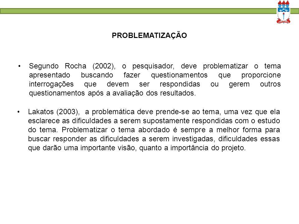 PROBLEMATIZAÇÃO Segundo Rocha (2002), o pesquisador, deve problematizar o tema apresentado buscando fazer questionamentos que proporcione interrogaçõe
