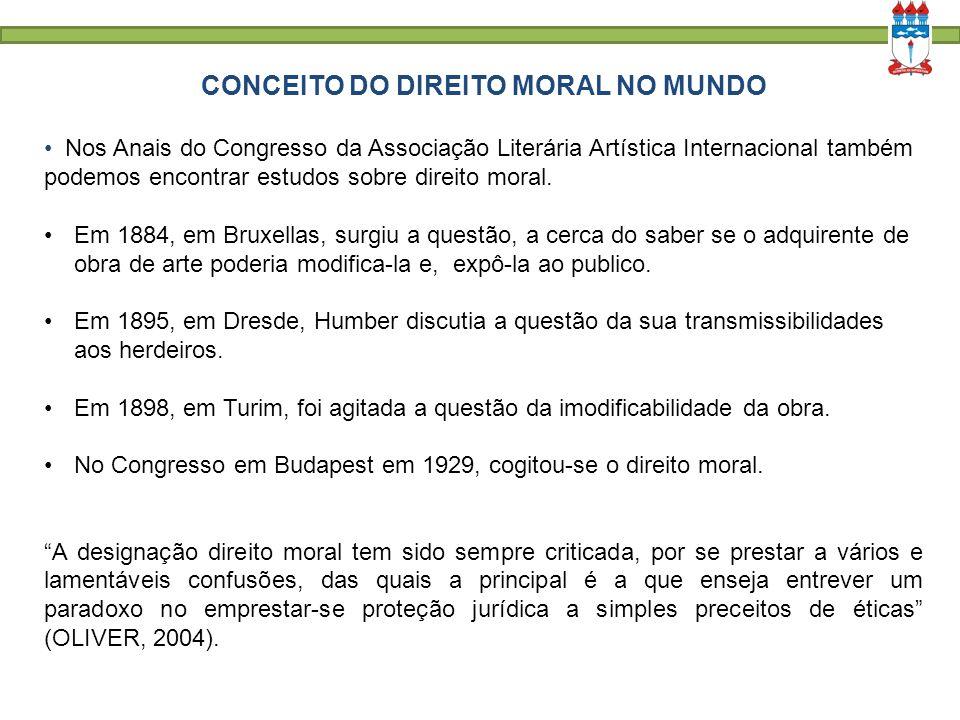 CONCEITO DO DIREITO MORAL NO MUNDO Nos Anais do Congresso da Associação Literária Artística Internacional também podemos encontrar estudos sobre direi