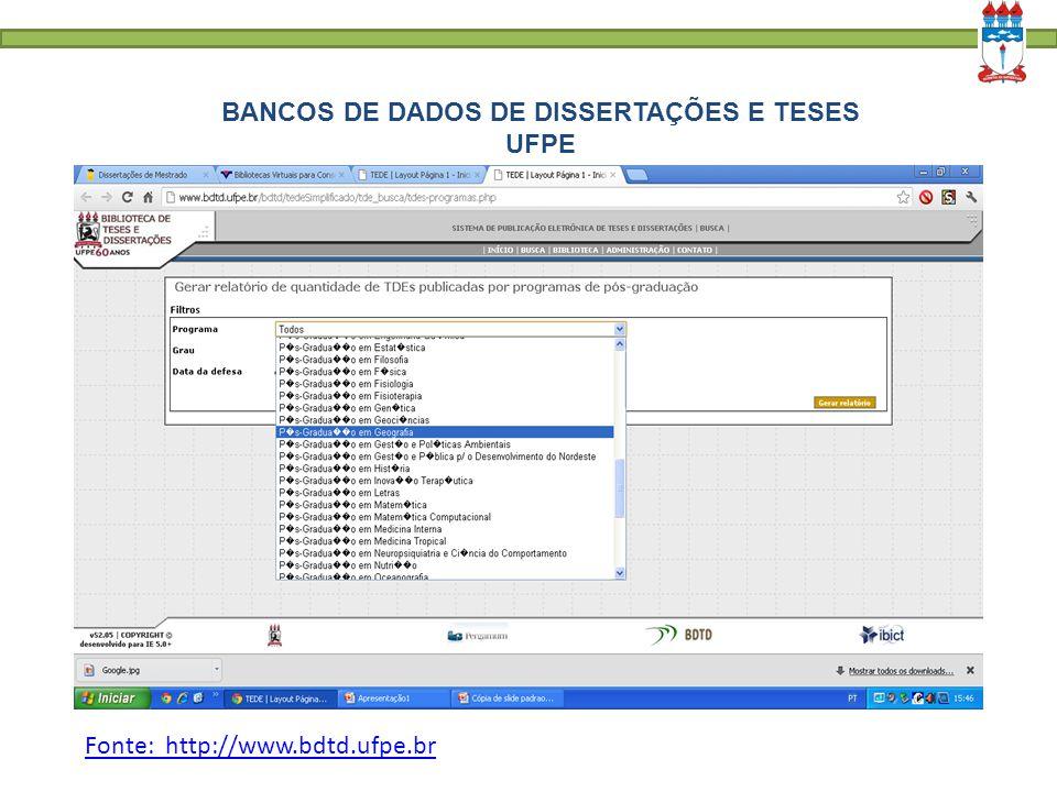 BANCOS DE DADOS DE DISSERTAÇÕES E TESES UFPE Fonte: http://www.bdtd.ufpe.br