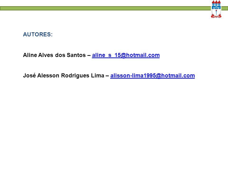 AUTORES: Aline Alves dos Santos – aline_s_15@hotmail.comaline_s_15@hotmail.com José Alesson Rodrigues Lima – alisson-lima1995@hotmail.comalisson-lima1