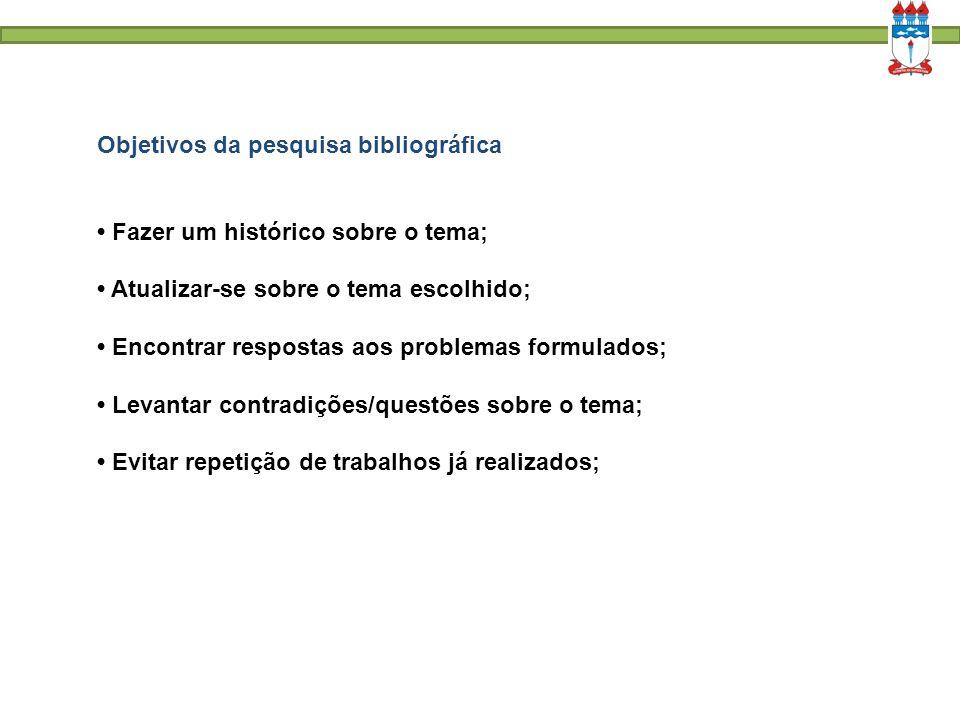 Objetivos da pesquisa bibliográfica Fazer um histórico sobre o tema; Atualizar-se sobre o tema escolhido; Encontrar respostas aos problemas formulados