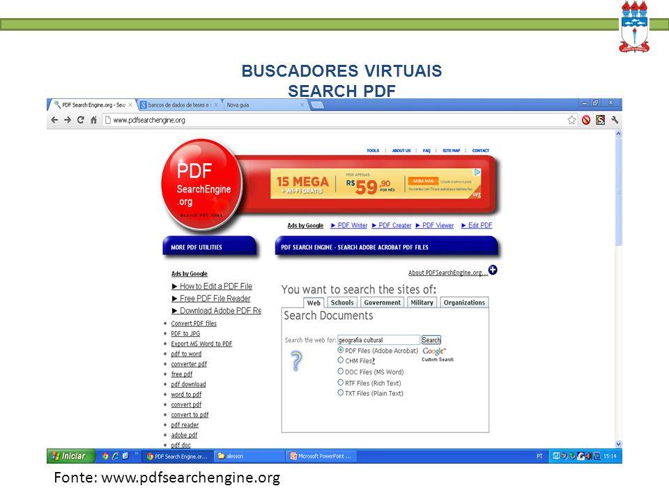 BUSCADORES VIRTUAIS SEARCH PDF Fonte: www.pdfsearchengine.org