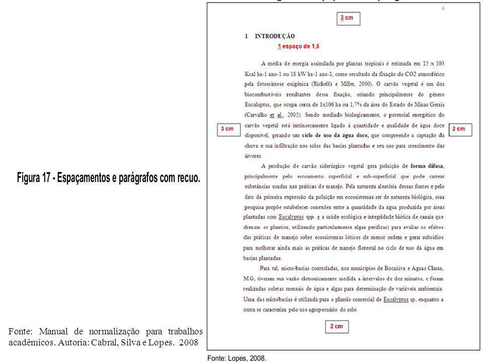 Fonte: Manual de normalização para trabalhos acadêmicos. Autoria: Cabral, Silva e Lopes. 2008