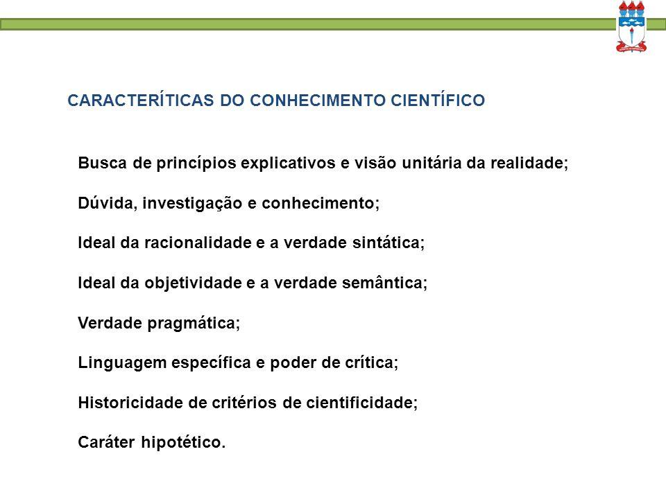 CARACTERÍTICAS DO CONHECIMENTO CIENTÍFICO Busca de princípios explicativos e visão unitária da realidade; Dúvida, investigação e conhecimento; Ideal d