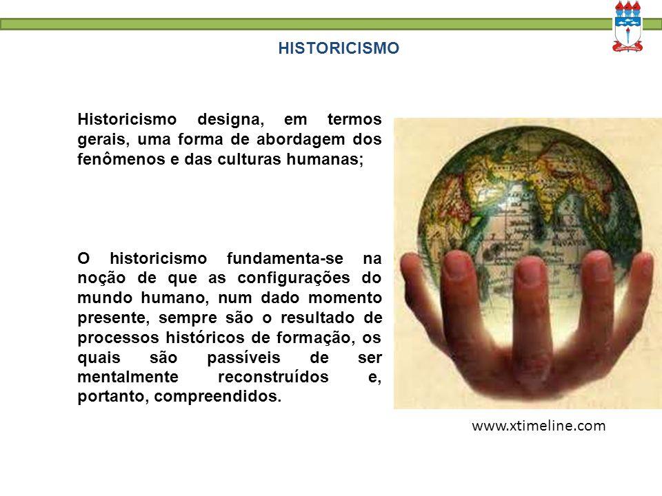 HISTORICISMO www.xtimeline.com Historicismo designa, em termos gerais, uma forma de abordagem dos fenômenos e das culturas humanas; O historicismo fun