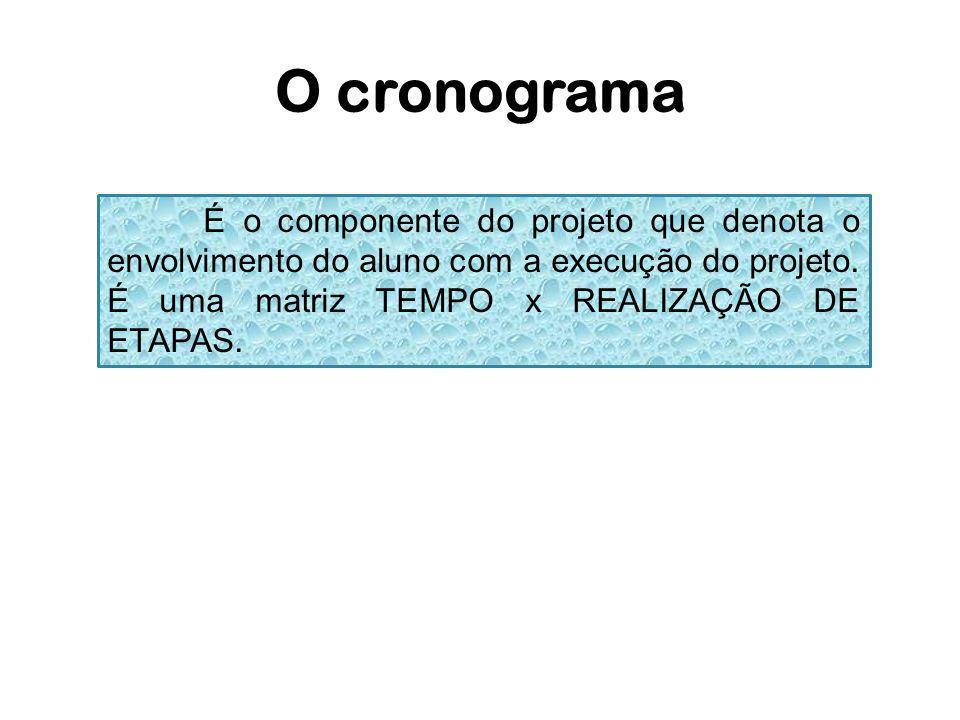 O cronograma É o componente do projeto que denota o envolvimento do aluno com a execução do projeto. É uma matriz TEMPO x REALIZAÇÃO DE ETAPAS.