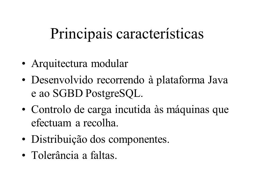 Principais características Arquitectura modular Desenvolvido recorrendo à plataforma Java e ao SGBD PostgreSQL.