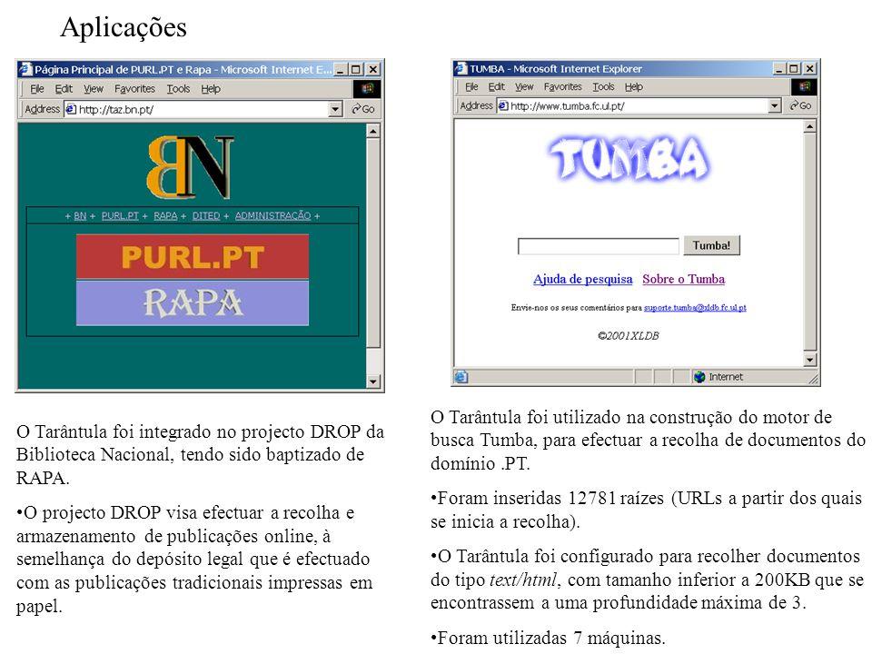 Aplicações O Tarântula foi utilizado na construção do motor de busca Tumba, para efectuar a recolha de documentos do domínio.PT.