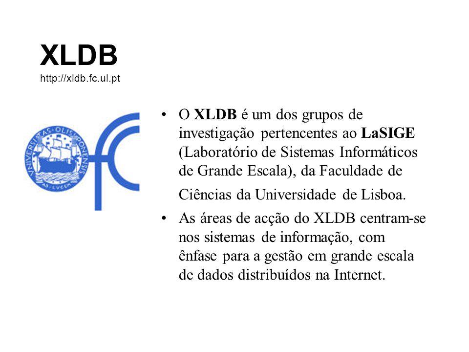 XLDB http://xldb.fc.ul.pt O XLDB é um dos grupos de investigação pertencentes ao LaSIGE (Laboratório de Sistemas Informáticos de Grande Escala), da Faculdade de Ciências da Universidade de Lisboa.