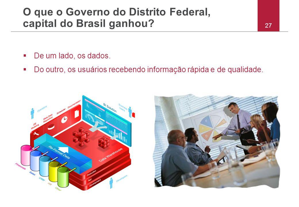 27 O que o Governo do Distrito Federal, capital do Brasil ganhou?  De um lado, os dados.  Do outro, os usuários recebendo informação rápida e de qua