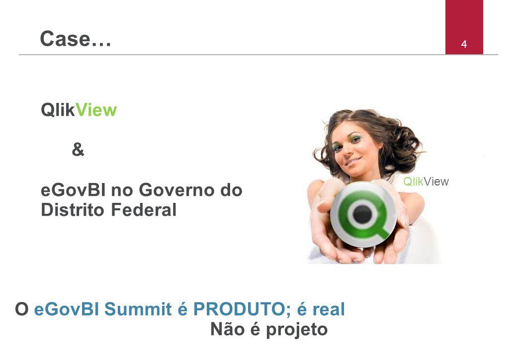 4 Case… QlikView & eGovBI no Governo do Distrito Federal O eGovBI Summit é PRODUTO; é real Não é projeto