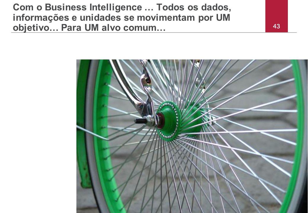 43 Com o Business Intelligence … Todos os dados, informações e unidades se movimentam por UM objetivo… Para UM alvo comum…