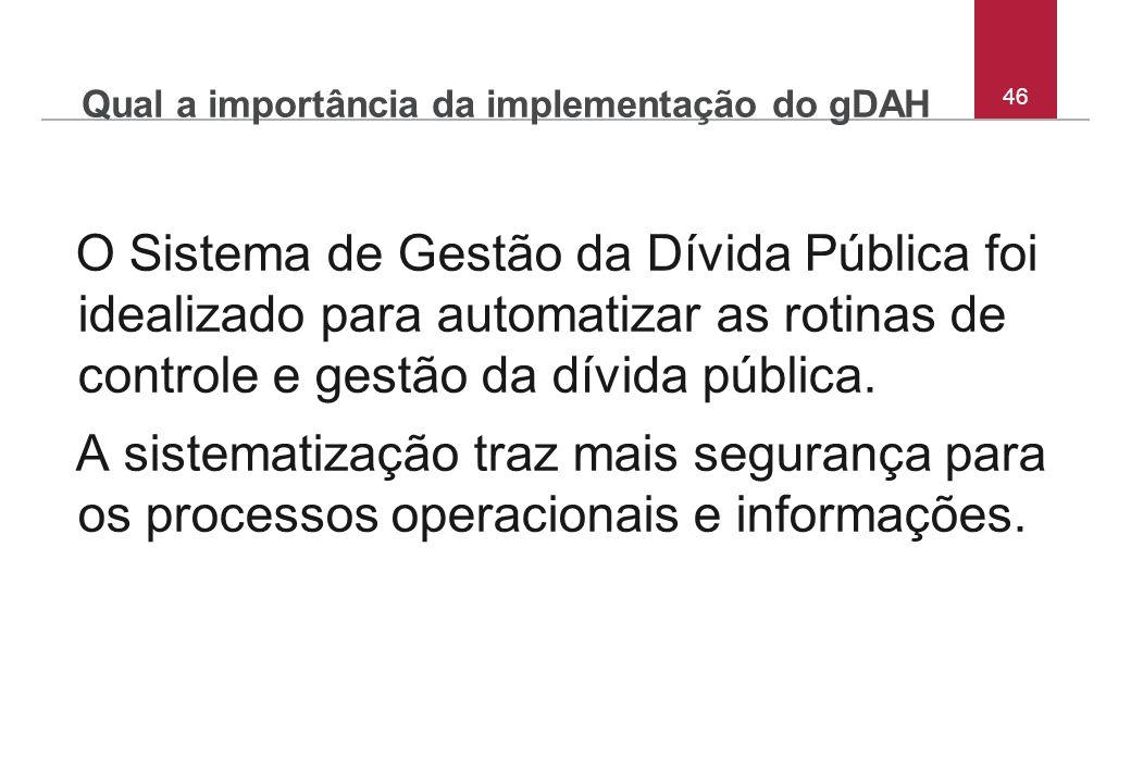 Qual a importância da implementação do gDAH O Sistema de Gestão da Dívida Pública foi idealizado para automatizar as rotinas de controle e gestão da d