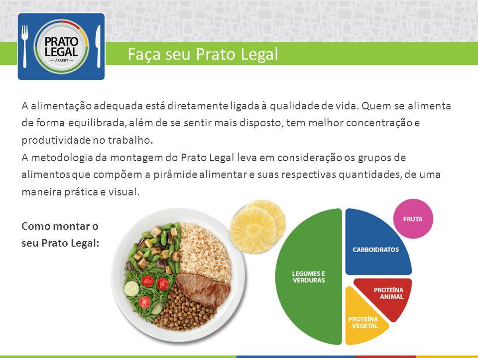 Faça seu Prato Legal A alimentação adequada está diretamente ligada à qualidade de vida. Quem se alimenta de forma equilibrada, além de se sentir mais