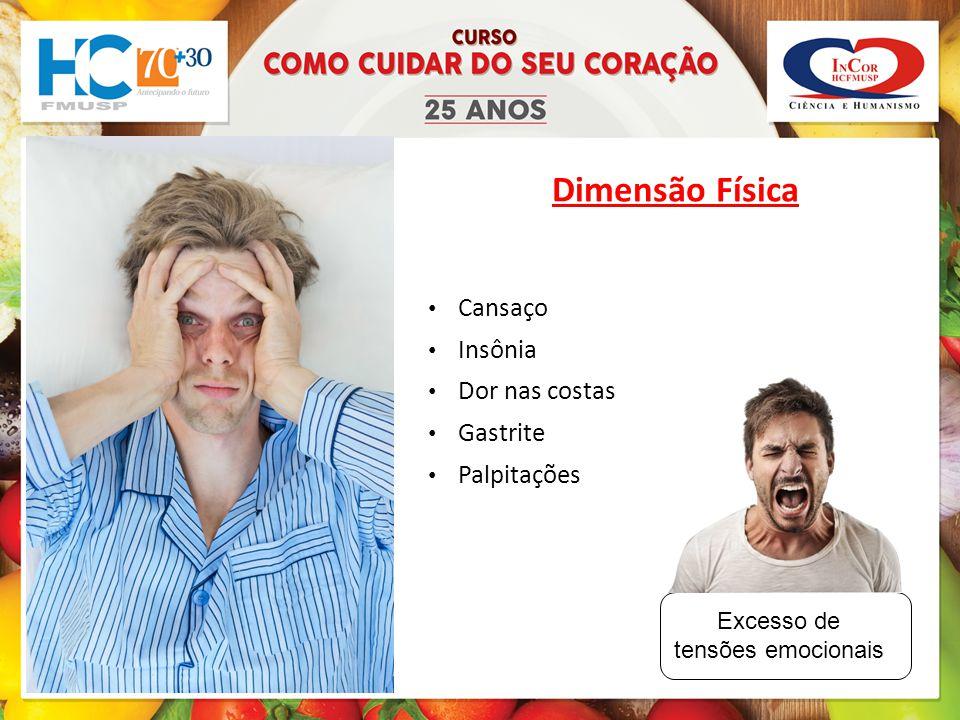 Dimensão Física Cansaço Insônia Dor nas costas Gastrite Palpitações Excesso de tensões emocionais