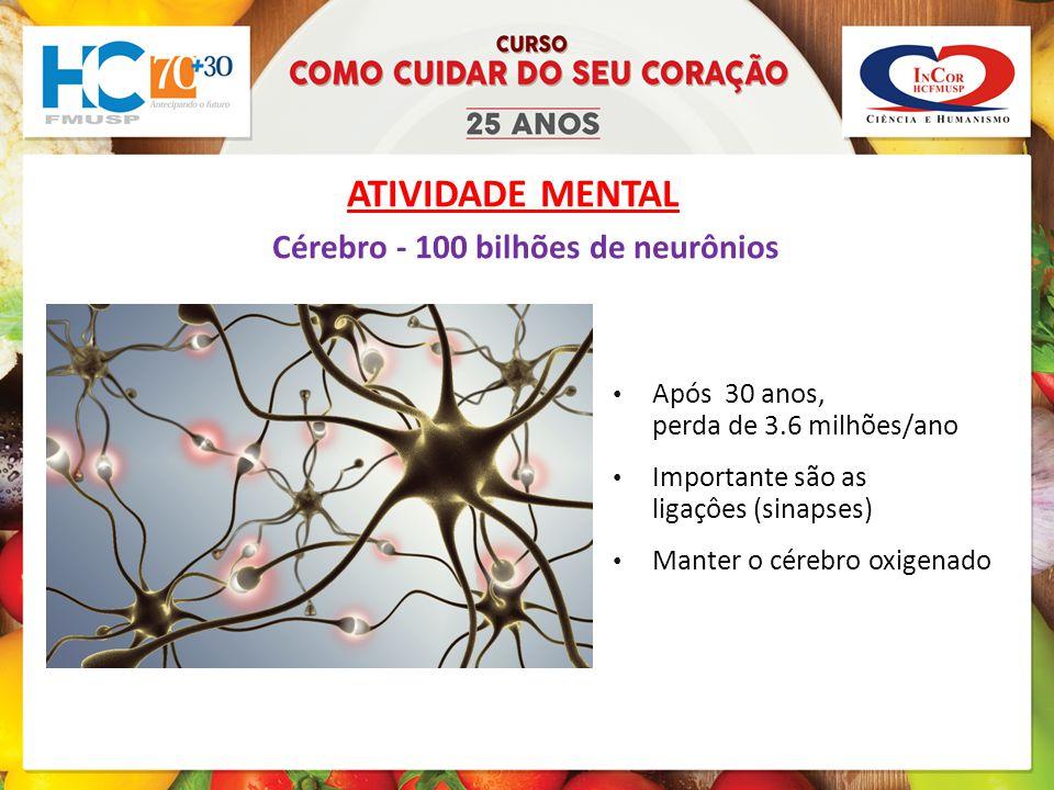ATIVIDADE MENTAL Cérebro - 100 bilhões de neurônios Após 30 anos, perda de 3.6 milhões/ano Importante são as ligaçôes (sinapses) Manter o cérebro oxigenado