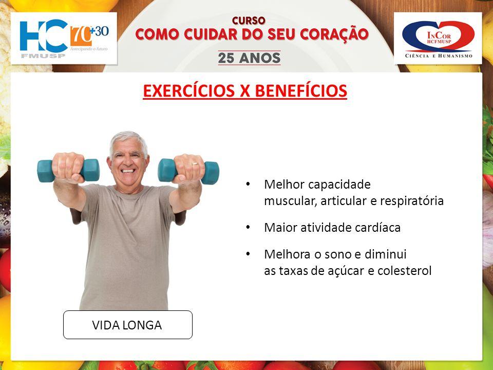 EXERCÍCIOS X BENEFÍCIOS Melhor capacidade muscular, articular e respiratória Maior atividade cardíaca Melhora o sono e diminui as taxas de açúcar e colesterol VIDA LONGA