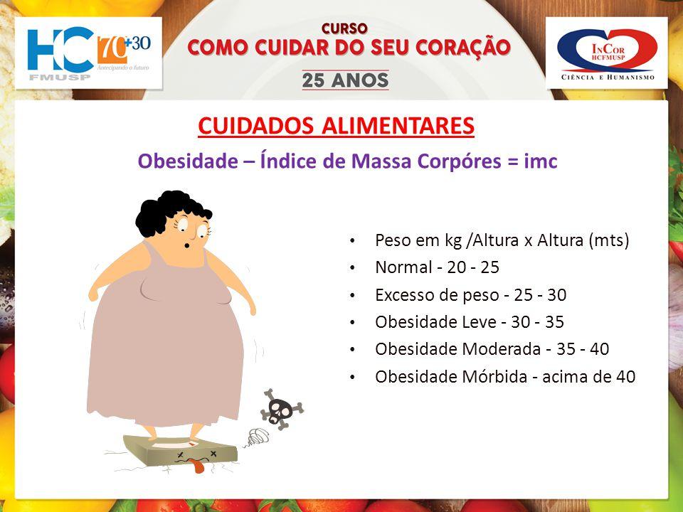 CUIDADOS ALIMENTARES Obesidade – Índice de Massa Corpóres = imc Peso em kg /Altura x Altura (mts) Normal - 20 - 25 Excesso de peso - 25 - 30 Obesidade Leve - 30 - 35 Obesidade Moderada - 35 - 40 Obesidade Mórbida - acima de 40