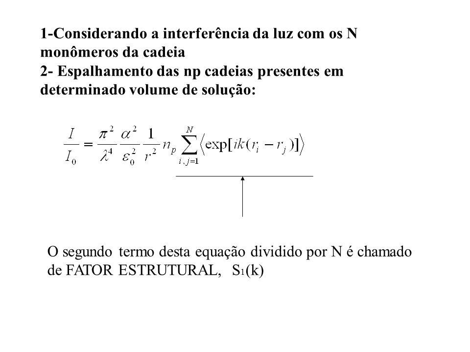 1-Considerando a interferência da luz com os N monômeros da cadeia 2- Espalhamento das np cadeias presentes em determinado volume de solução: O segundo termo desta equação dividido por N é chamado de FATOR ESTRUTURAL, S 1 (k)