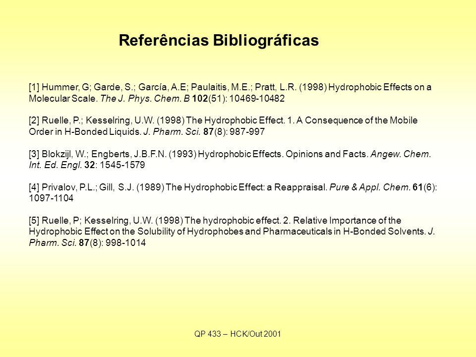 QP 433 – HCK/Out 2001 Referências Bibliográficas [1] Hummer, G; Garde, S.; García, A.E; Paulaitis, M.E.; Pratt, L.R.