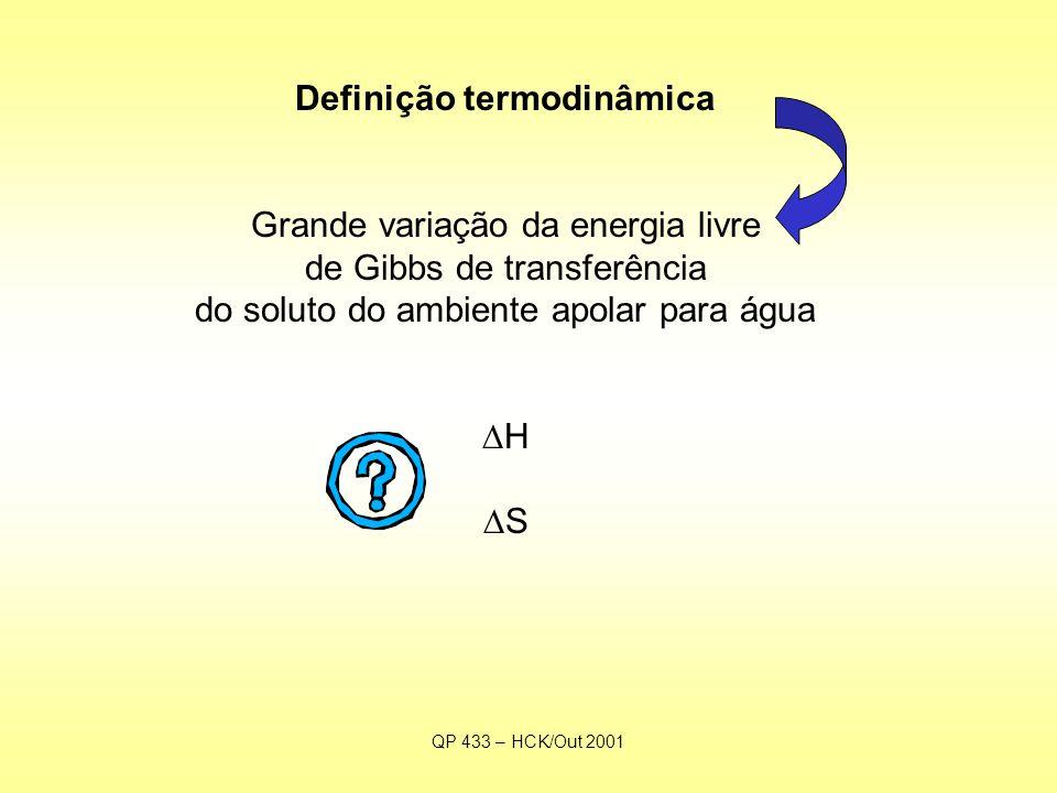 QP 433 – HCK/Out 2001 Definição termodinâmica Grande variação da energia livre de Gibbs de transferência do soluto do ambiente apolar para água  H  S