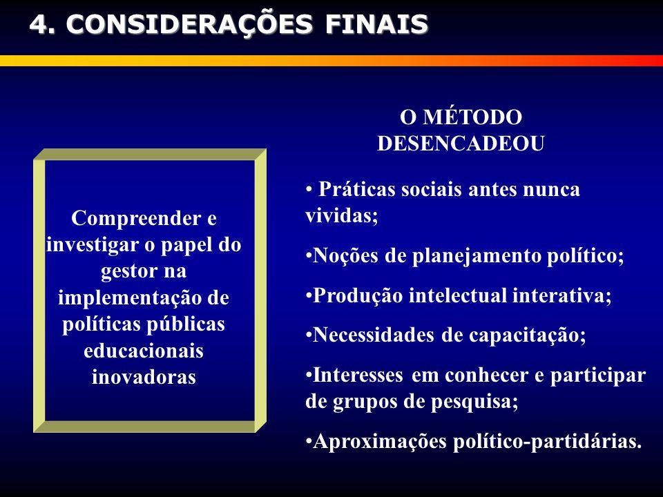 Compreender e investigar o papel do gestor na implementação de políticas públicas educacionais inovadoras Práticas sociais antes nunca vividas; Noções