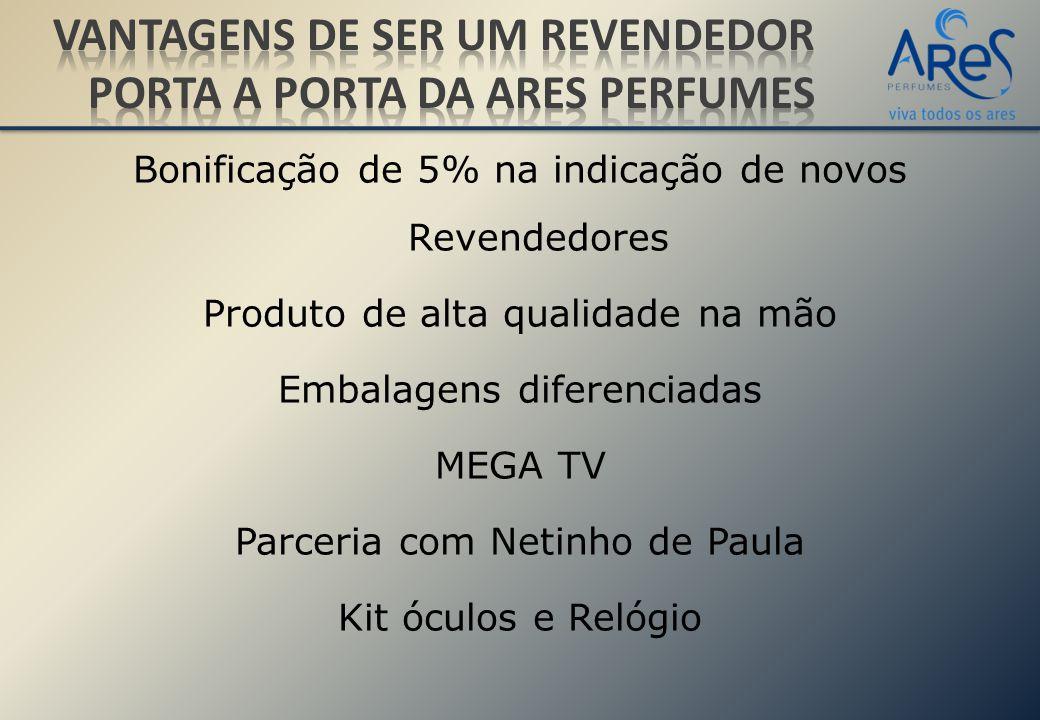 Bonificação de 5% na indicação de novos Revendedores Produto de alta qualidade na mão Embalagens diferenciadas MEGA TV Parceria com Netinho de Paula Kit óculos e Relógio