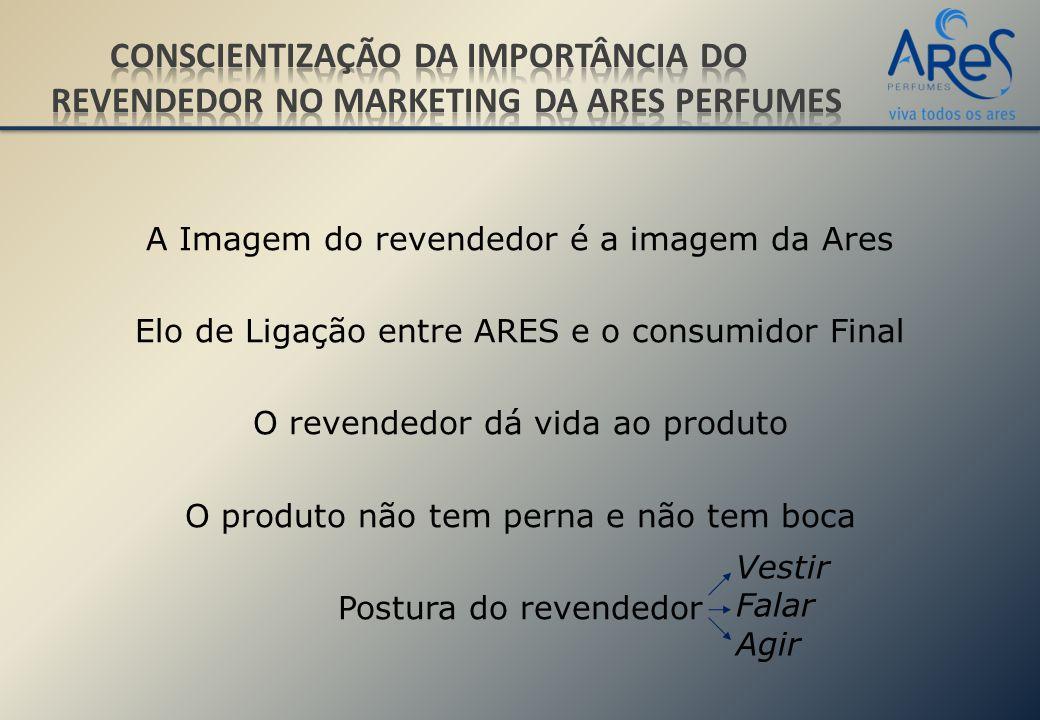 A Imagem do revendedor é a imagem da Ares Elo de Ligação entre ARES e o consumidor Final O revendedor dá vida ao produto O produto não tem perna e não tem boca Postura do revendedor Vestir Falar Agir