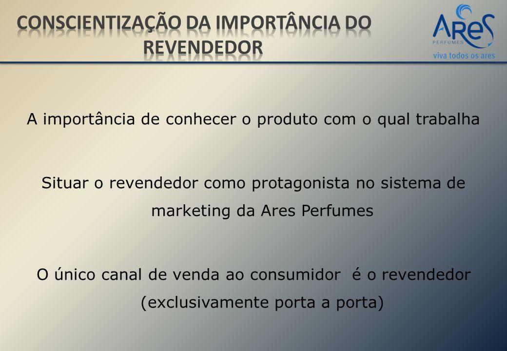 A importância de conhecer o produto com o qual trabalha Situar o revendedor como protagonista no sistema de marketing da Ares Perfumes O único canal de venda ao consumidor é o revendedor (exclusivamente porta a porta)