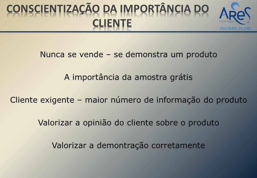 Nunca se vende – se demonstra um produto A importância da amostra grátis Cliente exigente – maior número de informação do produto Valorizar a opinião do cliente sobre o produto Valorizar a demontração corretamente